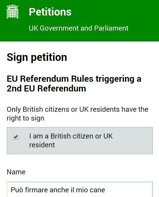 La petizione sulla brexit è una farsa...sul web scatta l'ironia, può votare anche il mio cane!