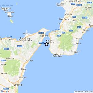 Sicilia, Tre scosse di terremoto il 27-09-2016 Stretto di Messina (Reggio di Calabria, Messina)