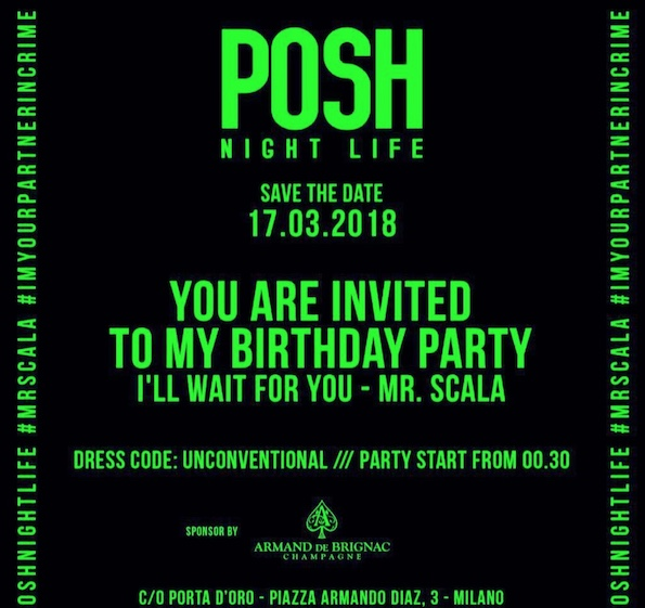 17marzo, Vittorio Scala / Posh Nightlife birthday party al Porta D'Oro di Milano