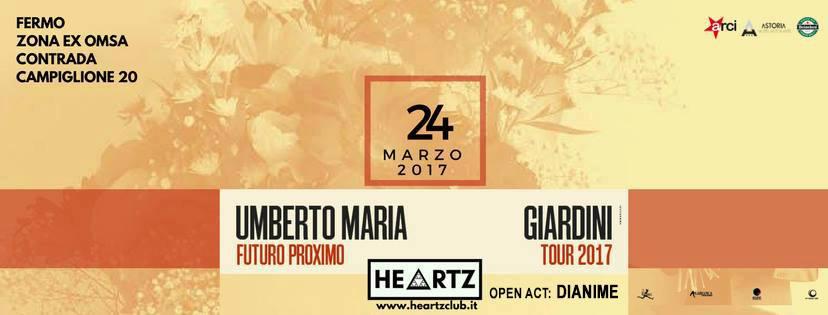 Umberto Maria Giardini e Dianime in concerto all'Heartz Club di Fermo