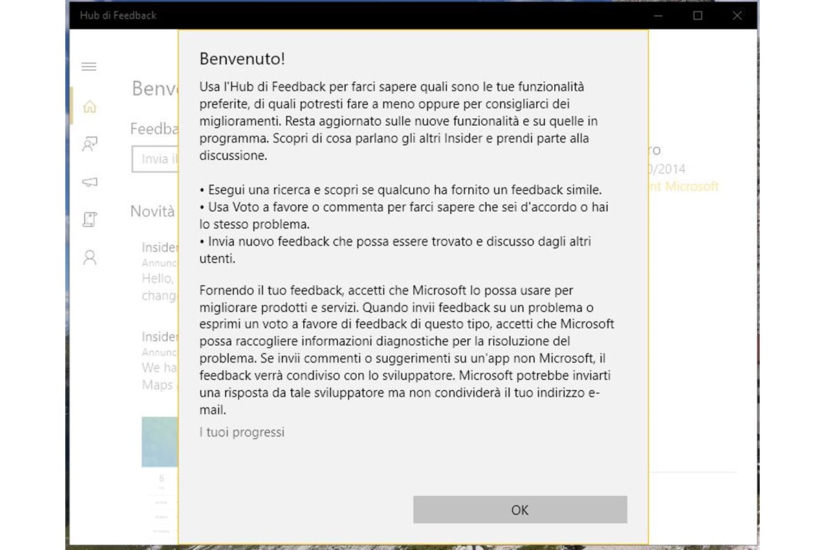 Hub di Feedback - Windows 10, disponibile per tutti
