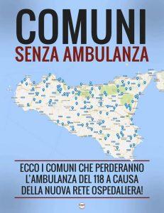 M5S: Rete ospedaliera siciliana dimezzate postazioni 118, 103 comuni senza ambulanza. Dieci i comuni...