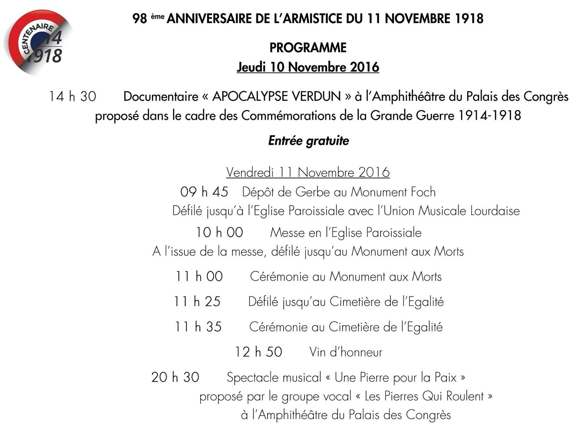 Cérémonies du 11 Novembre à Lourdes