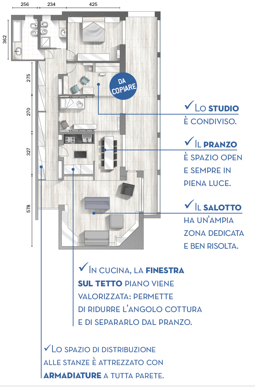 """120 mq con un funzionale """"doppio corridoio"""" e due stanze mutevoli"""
