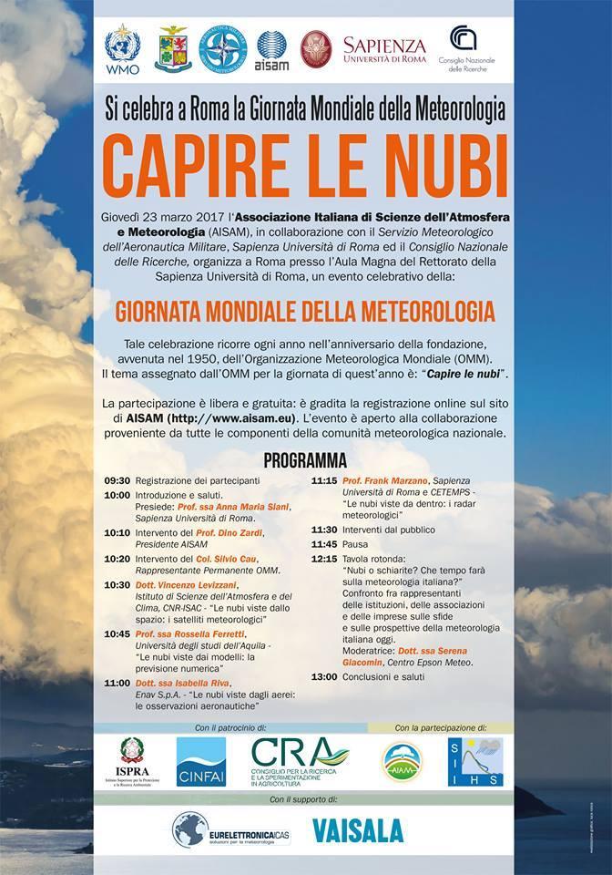 Giovedì 23 Marzo 2017 Giornata mondiale della Meteorologia
