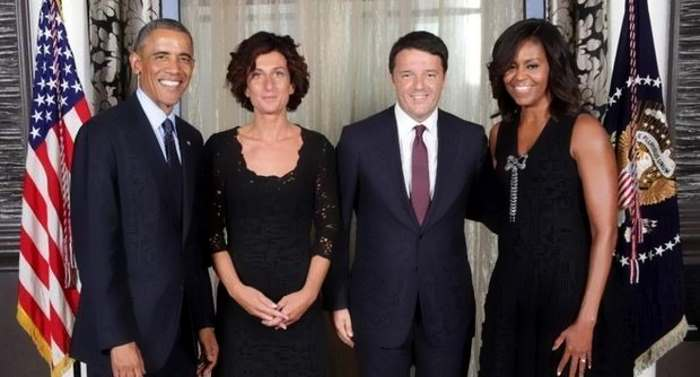 Matteo Renzi all'ultima cena di Barack Obama