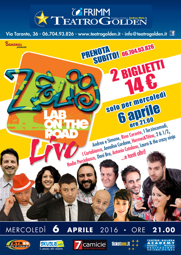 Al Teatro Golden di Roma arriva il Zelig Lab On The Road