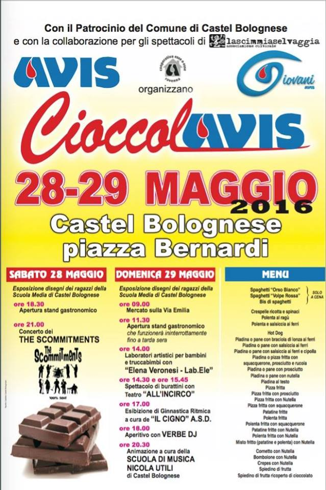 CIOCCOLAVIS 2016, il 28 e 29 Maggio in Piazza Bernardi