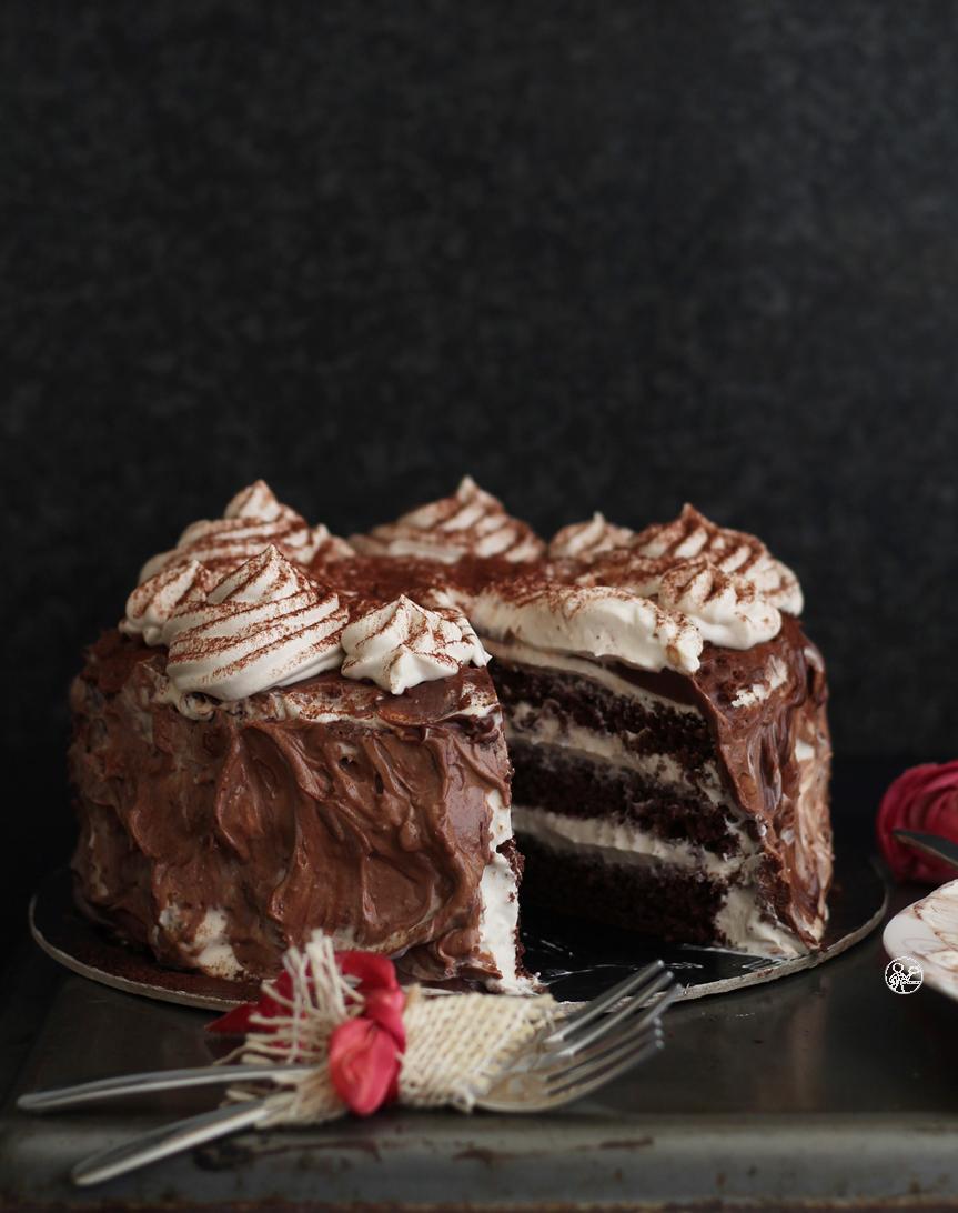 Cake au cacao et camy cream au café