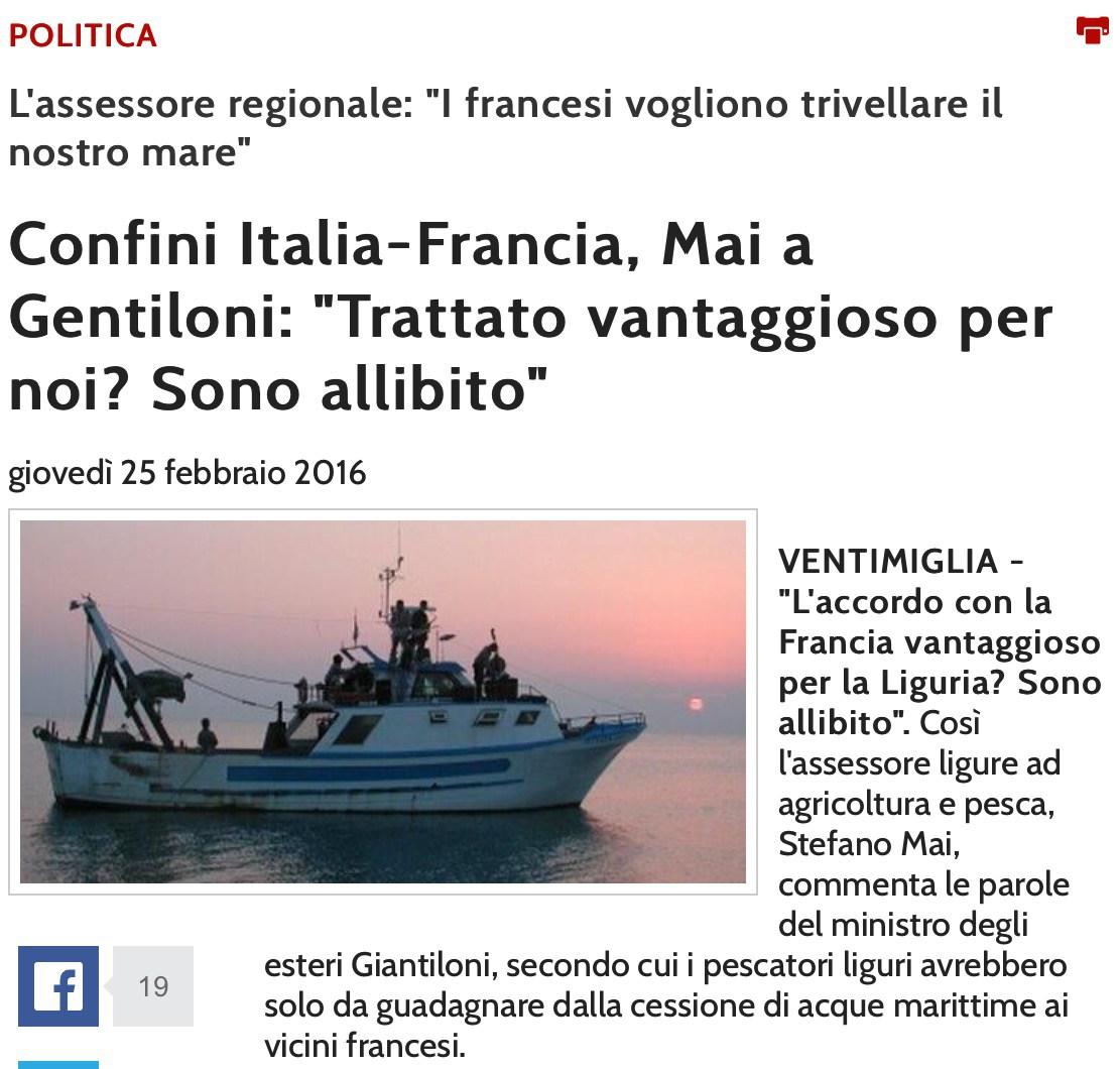 Ma Gentiloni non è colui che il 21 marzo 2015 inopinatamente firmò per cedere tratti di mare italiani alla Francia?