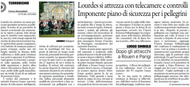 Piano antiterrorismo a #Lourdes