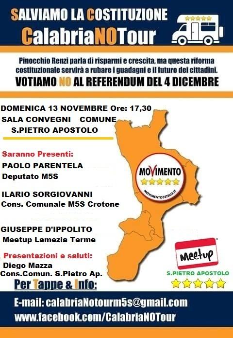 Domenica 13 novembre, il Calabria NO Tour del M5S fa tappa a S. Pietro Apostolo
