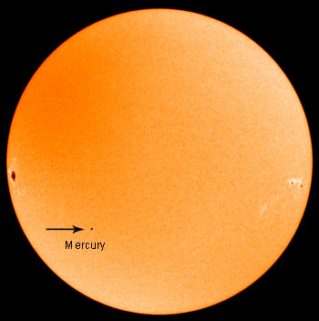 Mercurio transita sul Sole