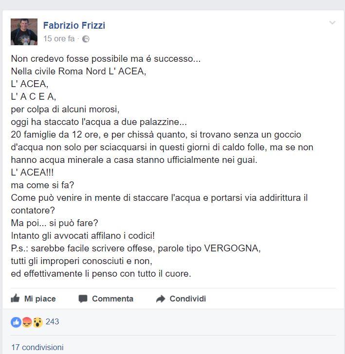 Vigna Clara, Acea stacca l'acqua a due palazzine: la denuncia di Fabrizio Frizzi