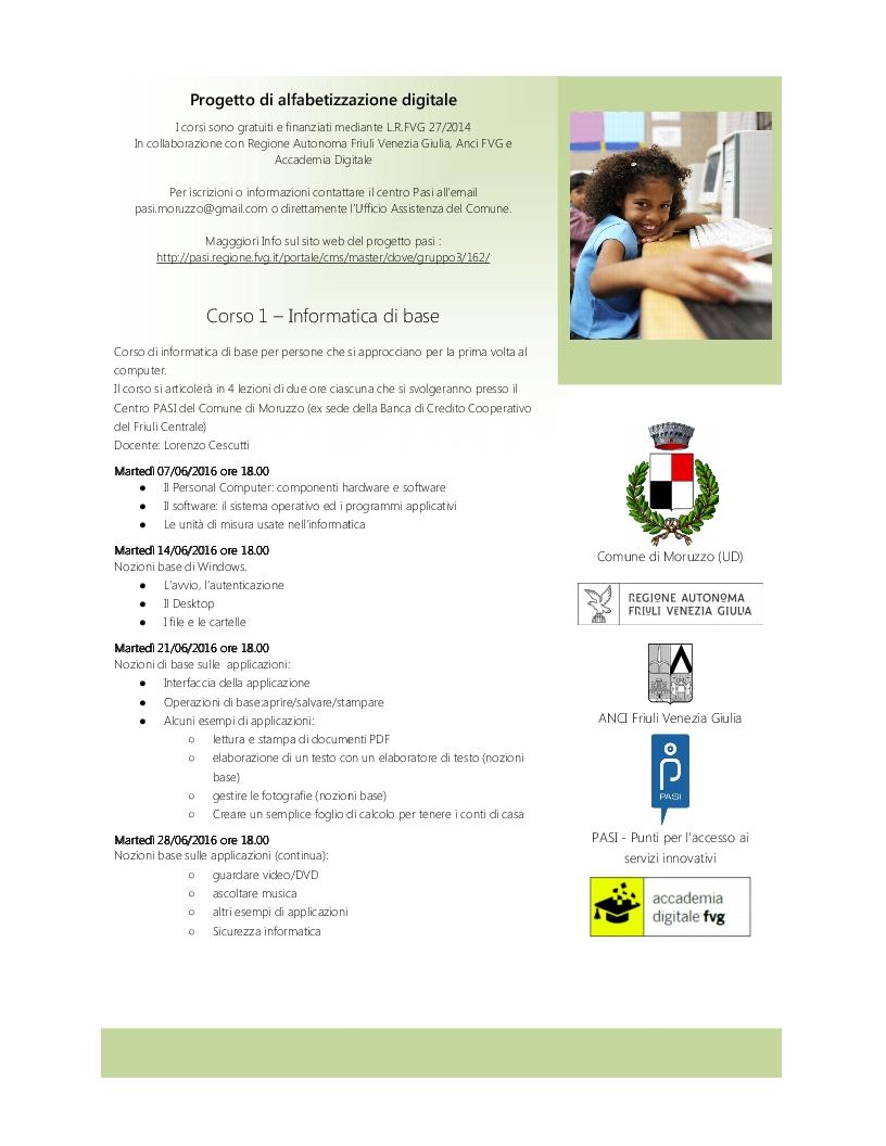 Il Comune di Moruzzo ha deciso di avviare un Progetto di Alfabetizzazione Digitale