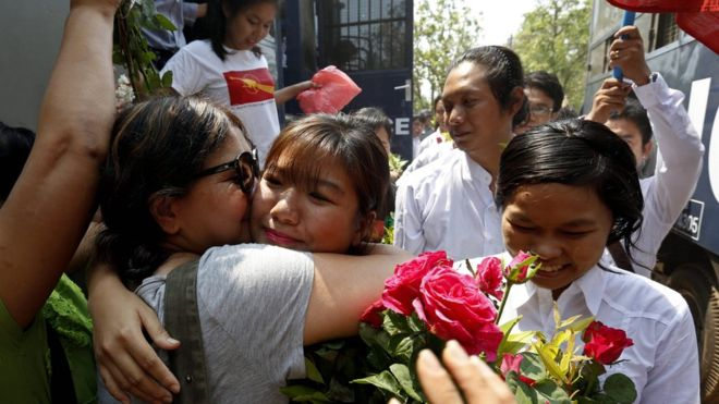 Myanmar court frees dozens of student activists