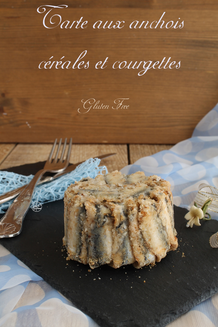 Tarte aux anchois, céréales et courgettes