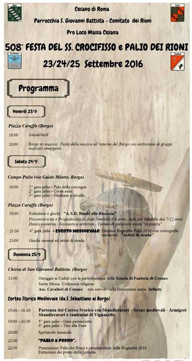 Cesano, dal 23 al 25 settembre 508esima festa del Santissimo Crocifisso