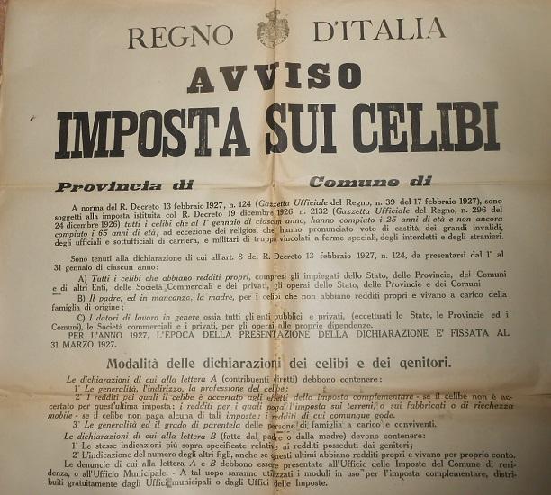 13 febbraio 1927: Viene istituita in Italia l'imposta sui celibi