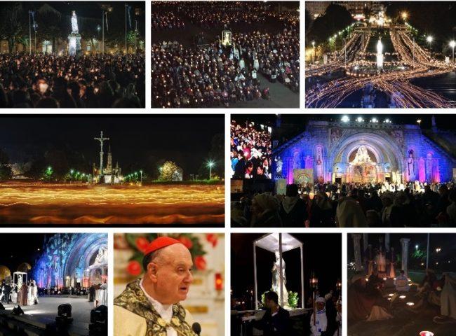 Il cero di Papa Francesco alla fiaccolata di Lourdes