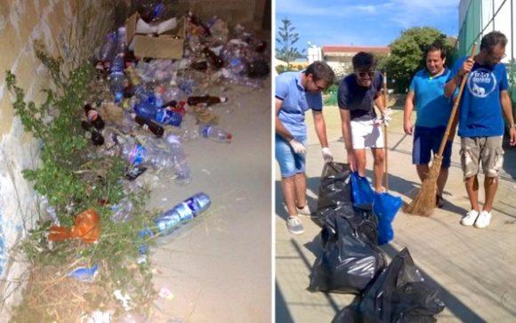 Giovani ripuliscono il campetto a Marinella di Selinunte