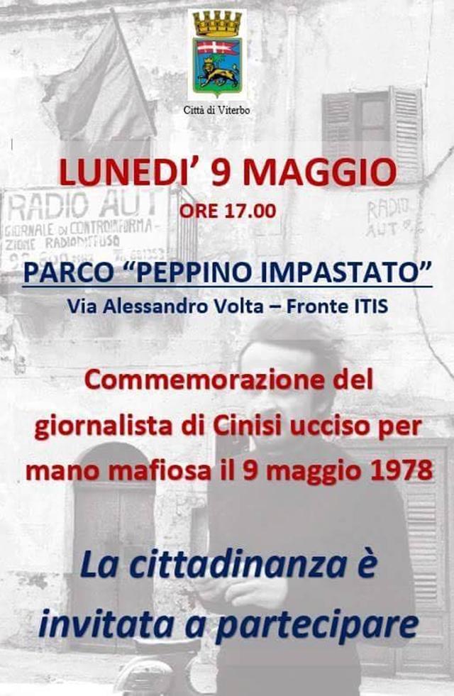 Viterbo ricorda il giornalista Peppino Impastato, ucciso nel 1978
