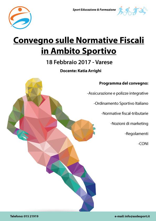 Convegno sulle normative fiscali in ambito sportivo, sabato 18 febraio 2017 a Varese